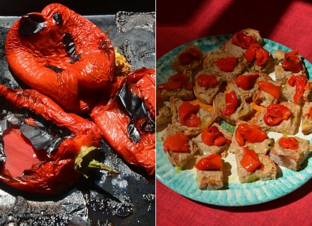 Rachel Roddy's recipe for roast pepper, tuna and anchovy toasts