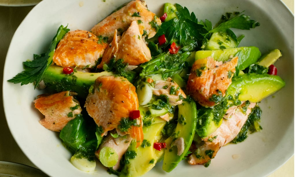 Nigel Slater's recipes for grilled salmon, and asparagus with pancetta